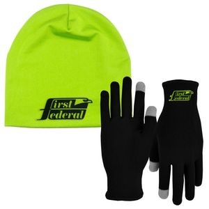 Runners Text Gloves - Performance Beanie Cap Combo